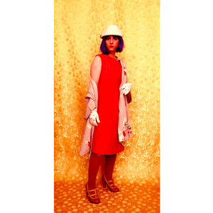Vintage 1960s Light Red Dynasty Dress Mod